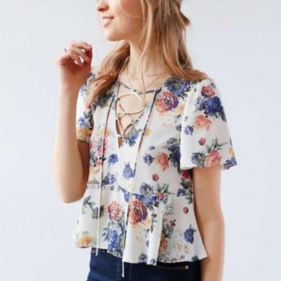 cf6c8b5351326c Kimchi Blue Tops | Urban Outfitters Floral Peplum Blouse | Poshmark